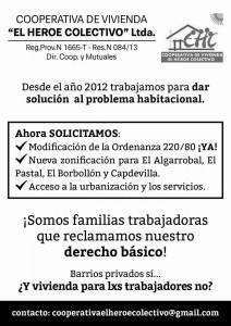 RECLAMO COOPERATIVAS DE VIVIENDA DE LAS HERAS